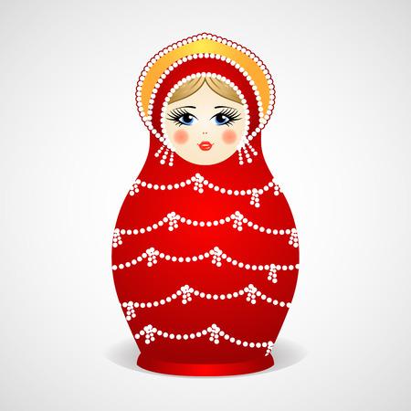 russian doll: Russian traditional wooden toys, babushka, matryoshka, simple beauty design element. Vector illustration. National culture concept. Retro doll background. Illustration