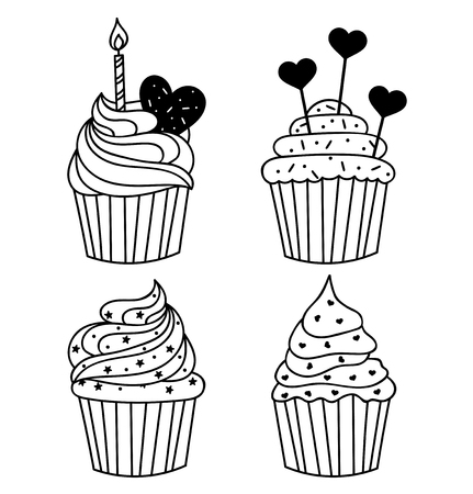 Vector monochrome background. Hand drawn cakes templates. Template for greeting card, postcard or adult coloring book. Sweet cupcake with birthday candle design backdrop. Cute food illustration. Illusztráció