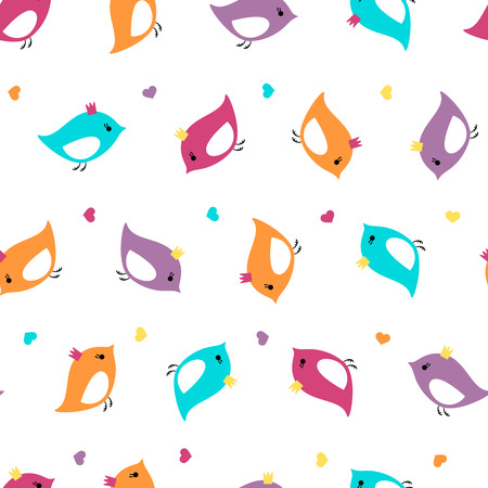 twit: Seamless pattern with bright colors birds with crown and hearts. Background for kid textile, pajama, paper print, card and other design. Hand drawn simple and cute vector illustration.