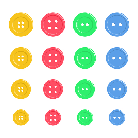 Set of bright plastic sewing buttons isolated on white. Background for kid textile, pajama, paper print, card and other design. Hand drawn simple and cute vector illustration.