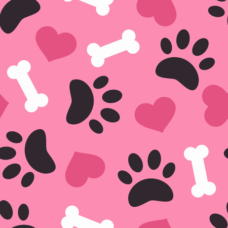 Dog paw trace silhouette with bones and pink heart seamless pattern. Good for textile and paper print, card, poster, another design. Cute funny love vector illustration.