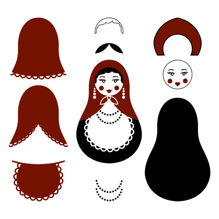 matreshka: Russian traditional wooden toys, babushka, matryoshka, simple moldes set for handmade art. Vector illustration sewing elements. National culture. Retro doll background for adult coloring page book.