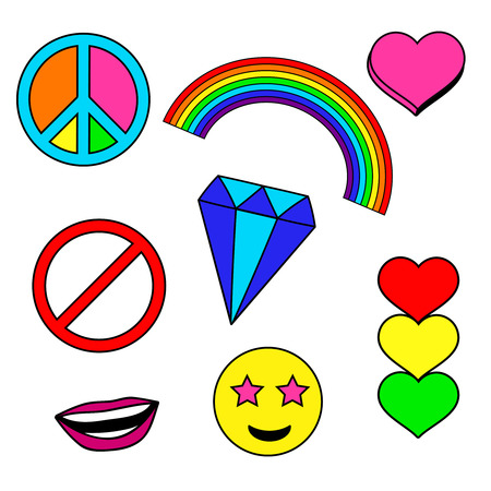 Colorful patches collection with heart, rainbow, stop sign, smile face, diamond, crystal, peace pin. Sewing elements. Hand drawn vector Illustration, retro style. Fashion trend pins badges set