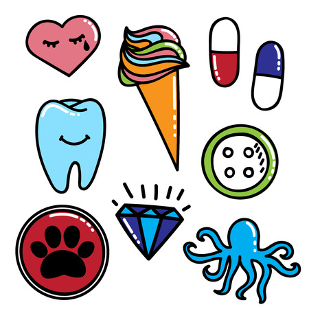 crystal button: Colorful patches collection with cry heart, ice cream, pill, tooth, diamond, crystal, button, dog trace. Sewing elements. Hand drawn vector Illustration, retro style. Fashion trend pin badges set Illustration