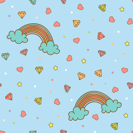 heart diamond: Colorful seamless pattern with rainbow, heart, diamond, crystal. Hand drawn vector Illustration for kid textile, card, pin, t-shirt print design. Fashion trend background. Fairy tale, magic Illustration