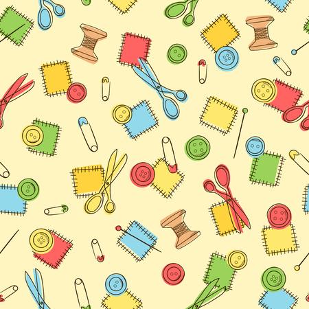 Nahtlose Muster Mit Nähen Knopf, Stift, Pflaster, Schere, Herz ...