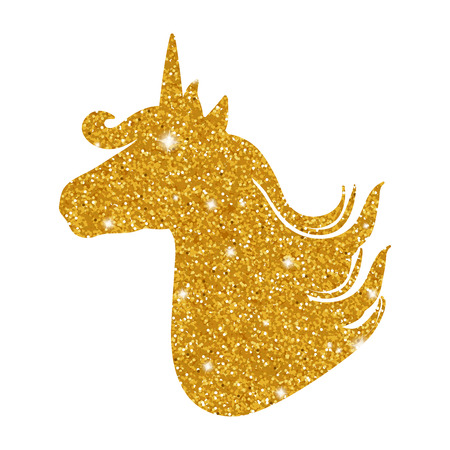 Colorful patch with unicorn gold glitter silhouette, bright colors. Background under clipping mask. Hand drawn vector Illustration for kid textile, pin, t-shirt print design. Fashion trend badge.