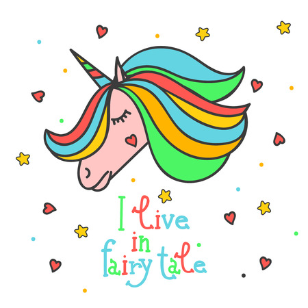 Colorful patch with unicorn, heart, star, in bright rainbow colors. Hand drawn Illustration with lettering for kid textile, card, pin, other design. Fashion trend badge. Fairy tale, magic. Stock Photo
