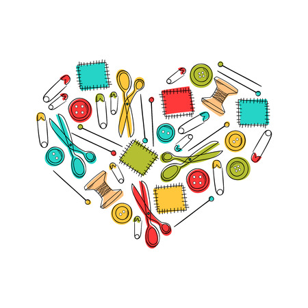 Set of sewing elements patch, scissors, pin, button in heart shape. Background for kid textile, pajama, paper print, card and other design. Stock Photo