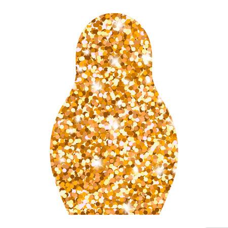 matreshka: Russian doll icon. Bright golden glitter logo. Matryoshka silhouette. Vector illustration.