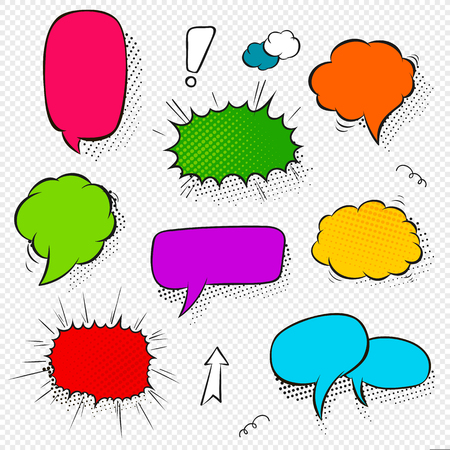 Set of comic speech bubbles and elements with halftone shadows. Cartoon style. Vector illustration in bright colors.