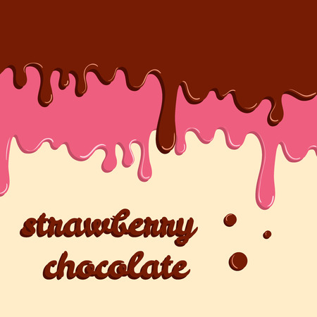 Dripping glaze background. Strawberry and chocolate liquid sweet flow, tasty dessert topping with colorful sprinkles. Vector illustration. Food theme. Stock Illustratie