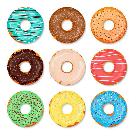 Donuts set. Sweet and tasty food icons background for any design solution. Vector illustration. Chocolste, glaze, coconut, nuts.