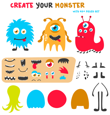 Cartoon funny monsters creation kit. Create your own monster set. Vector illustration Illustration