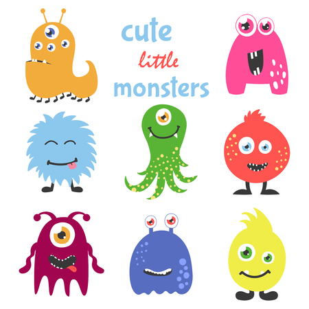 Cute cartoon monsters set. Collection for any design, card, poster, invitation. Vector illustration