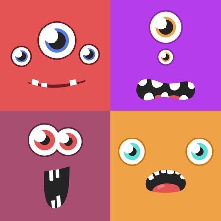 Set of cartoon monster faces with different expression of emotions. Bright emotional avatar collection. Kid theme. Vector illustration for any design. Illustration