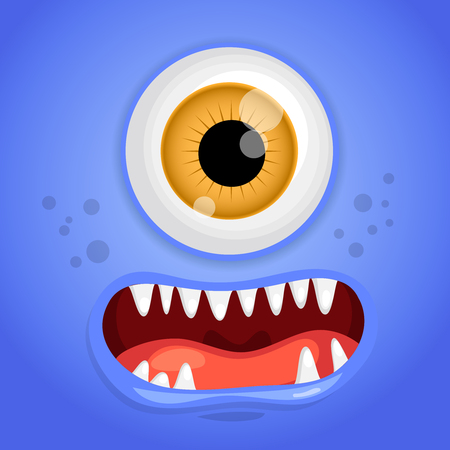 Cartoon monster face. Vector Halloween blue smiling fairy tale avatar. Vector illustration. Illustration