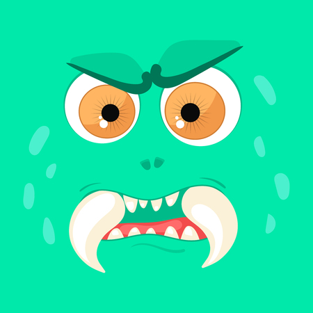 Cartoon monster face. Vector Halloween green angry fairy tale avatar. Vector illustration.