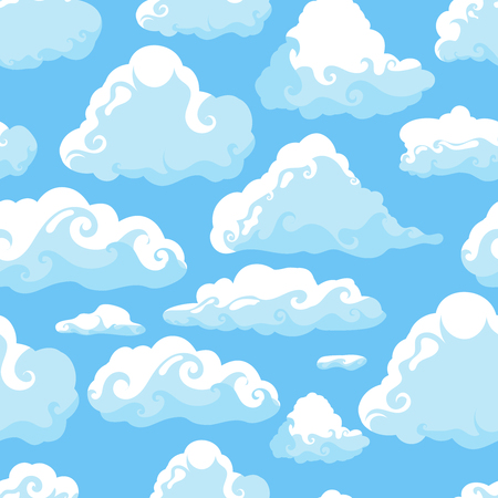 Blue sky with white clouds. Hand drawn seamless pattern. Vector illustration in cartoon style.