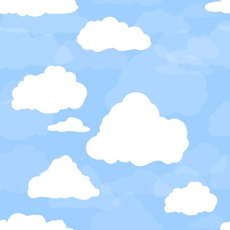 Blauwe lucht met witte wolken. Hand getekend naadloos patroon. Vector illustratie in cartoon stijl.