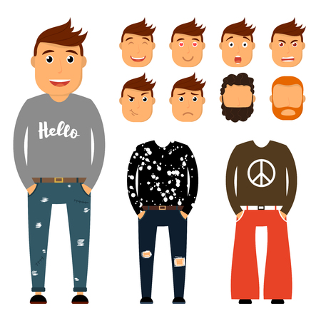 Teenager character creation set. Young man vector illustration. Boy constructor with various gesture, emotion on face, hairstyle. Student, hippie, hipster.