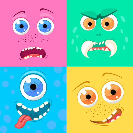 Set of cartoon monster faces with different expression of emotions. Bright emotional avatar collection. Kid theme. Vector illustration for any design. Illusztráció