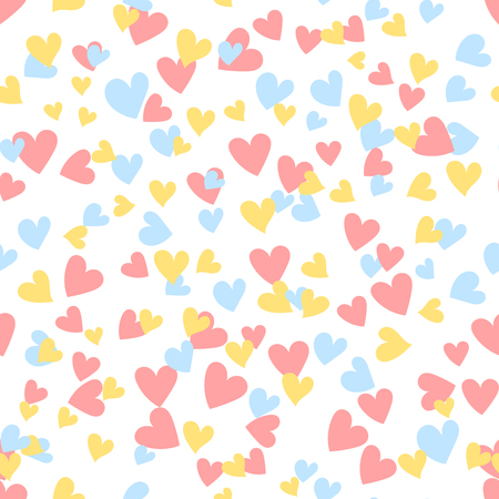 Cartoon hearts seamless pattern. Saint Valentine day symbol background. Vector illustration for any design.