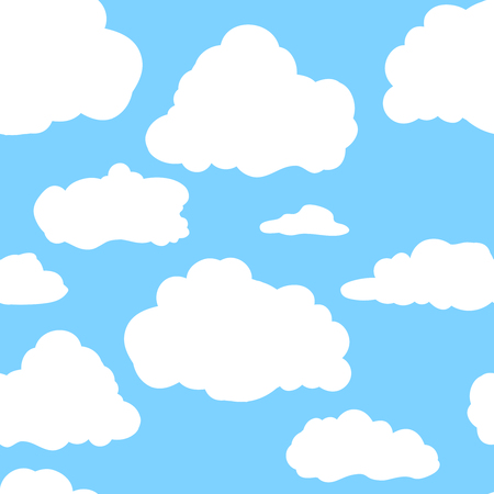 Blue sky with white clouds. Hand drawn seamless pattern.  illustration in cartoon style.