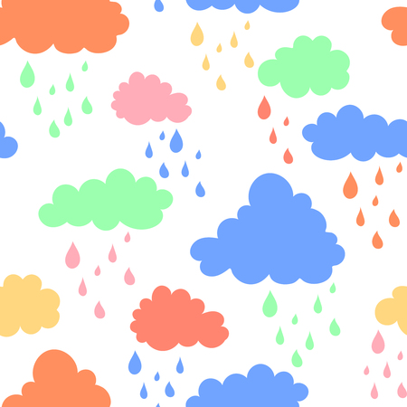 Sky background with blue, pink, green and orange clouds. illustration in cartoon style. Stock fotó