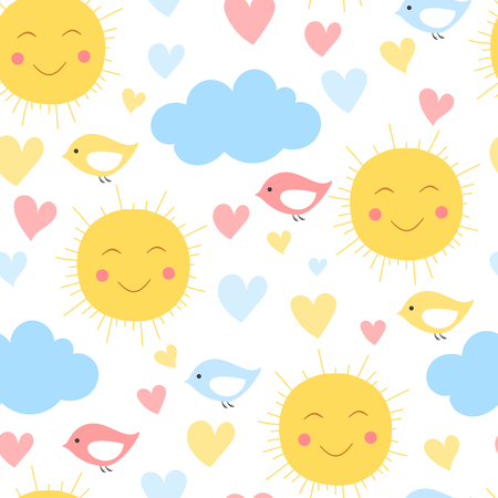 Cartoon sun, cloud. heart and bird background. Seamless pattern for kid textile and other print.