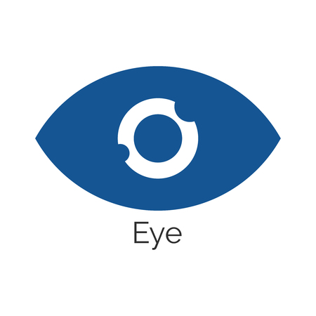 Simple eye icon in blue vector illustration