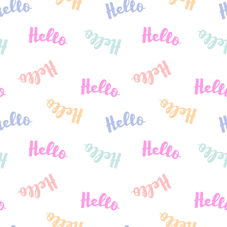 Word Hello lettering seamless pattern. Vector calligraphy illustration for banners, posters, t-shirts, cards, web-design.