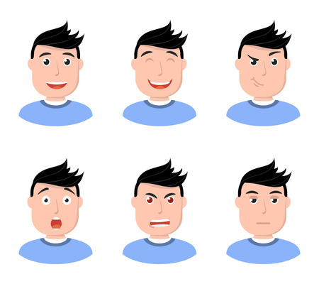 Set of man face character icons. Flat style vector illustration.