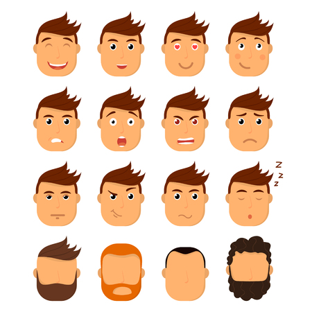 Set of male facial emotions. Emoji character with different expressions. Vector illustration in cartoon style Illusztráció