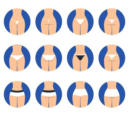 All types of women underwear. Vector set of underwear. View front and behind
