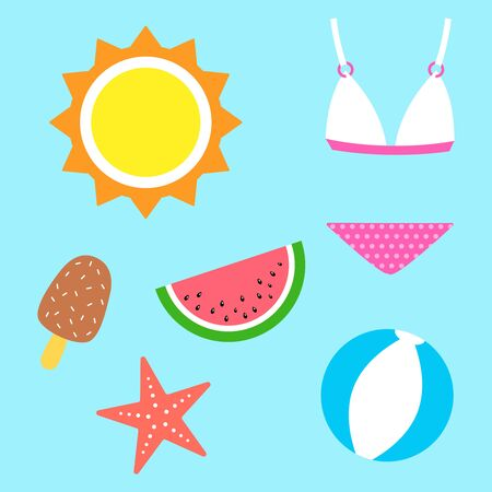 Collection of summer symbols. Set of cute and simple icons. Vacation theme. Vector illustration. 일러스트