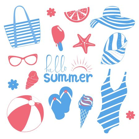 Collection of summer symbols. Set of cute icons in pink and blue. Vacation theme. Vector illustration 일러스트