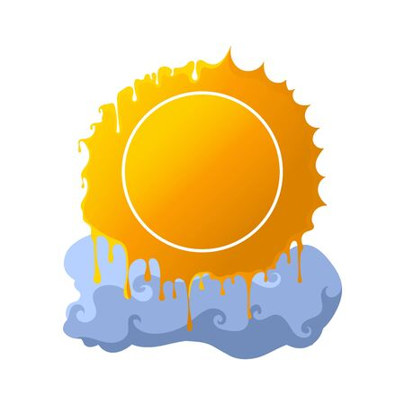 Abstract melting sun symbol with cloud. Hot summer vector illustration.