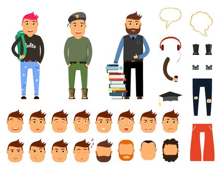 Creation set of handsome young man character. Military, student, scientist male person. Various types of faces and emotions. Vector illustration. Ilustración de vector
