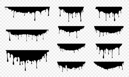 Gouttes de liquide gouttes. Faire fondre des gouttes de peinture. Illustration vectorielle d'éclaboussures d'éclaboussures de graffiti ou de sirop ou d'huile Vecteurs