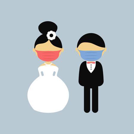 Cartoon wedding characters. Bride and groom wearing medical face mask. Couple newlyweds. Vector flat avatars people. Icons male, female. Covid-2019. Hygiene promotion. Corona virus
