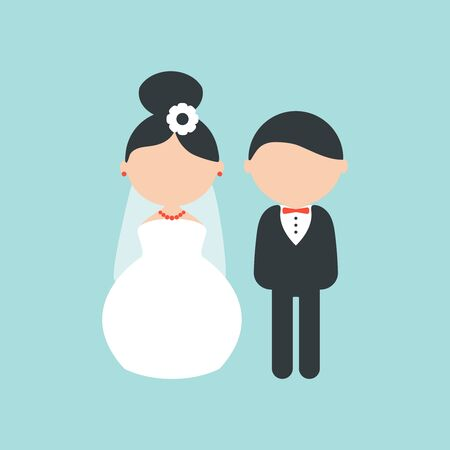 Cartoon wedding characters. Cute simple bride and groom. Couple newlyweds. Vector flat avatars people. Icons male, female.