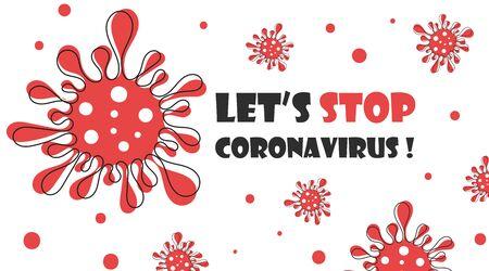 Coronavirus bacteria, 2019-nCoV. Covid-2019. No infection and stop virus concept banner. Biohazard vector illustration