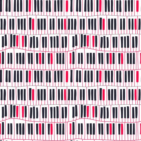 Abstract geometric motif. Seamless pattern with piano keyboard. Vector music theme illustration