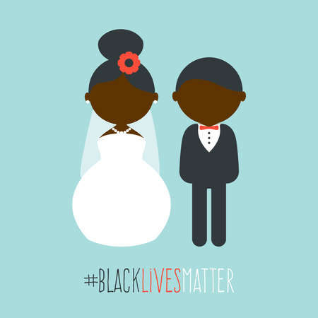 Cartoon wedding characters. Cute simple dark skin bride and groom. Couple newlyweds. Vector flat avatars people. Icons male, female. Black lives matters slogan 向量圖像