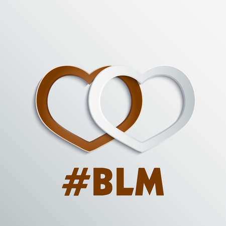Abstract hearts 3D paper icon. Black lives matter theme.