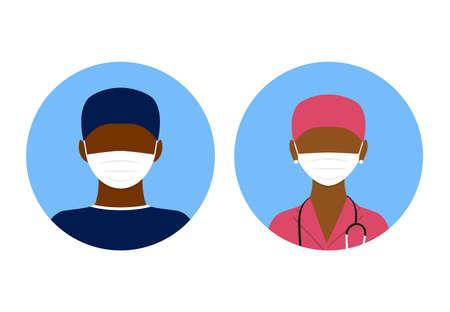 Medical avatars illustration of flat design. People icons collection, dark skin doctor and nurse in mask. Covid. Black lives matter