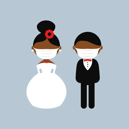 Cartoon dark skin wedding characters. Bride and groom wearing medical face mask. Couple newlyweds. Vector flat avatars. Icons male, female. Covid-2019. Corona virus. Black lives matter theme
