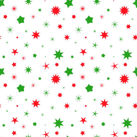 Simple retro Christmas seamless pattern with stars. Traditional red and green colors background. Vector illustration. Winter endless texture can be copied without any seams 向量圖像