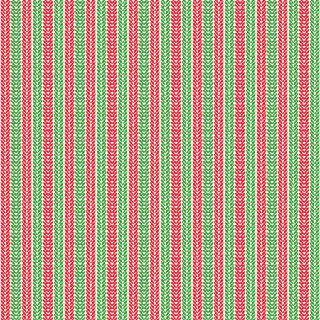 Seamless pattern of knitting braids, endless texture for web, print, wallpaper, website background, holiday home decor, fabric. Traditional Christmas colors vector illustration